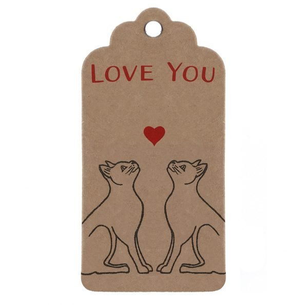 cat lover gift tag. Brown kraft parcel tag with pair of black cats, heart and message, 'Love You'.