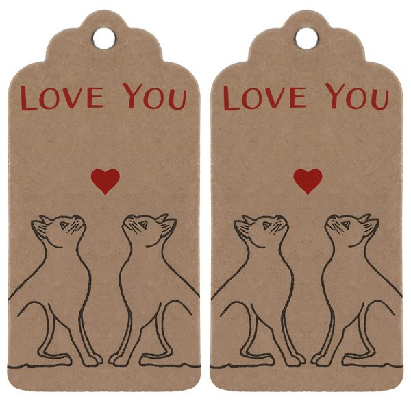 anniversary gift tags - two brown kraft gift tags with love cat design and 'love you' message.