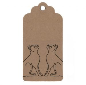 black cats gift tag, brown kraft parcel tag with black cats design