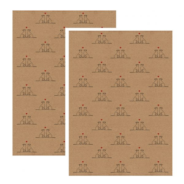 valentines wrapping paper - black cats with red love hearts on kraft paper