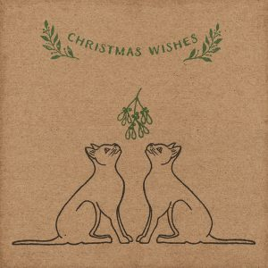 Cats Christmas card - handmade kraft Christmas card, with pair of black cats and mistletoe, with Christmas Wishes message