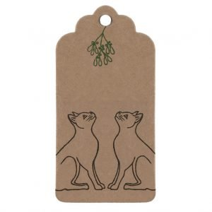 Mistletoe Cats Christmas gift tag - brown kraft tag with black cats under mistletoe.