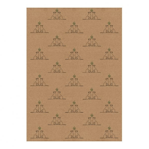 Full sheet of Christmas cats wrapping paper - kraft gift wrap sheet (50 cm x 70 cm), with Christmas Cat design