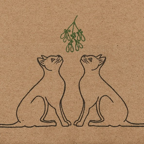 Close up of Wrapped By Alice Christmas cats design, with mistletoe