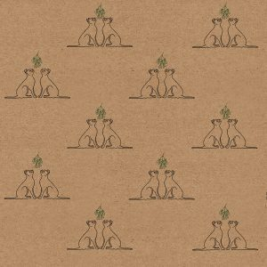 recyclable wrapping paper - kraft paper with Christmas cat design - a pair of black cats sitting underneath a bunch of hanging mistletoe