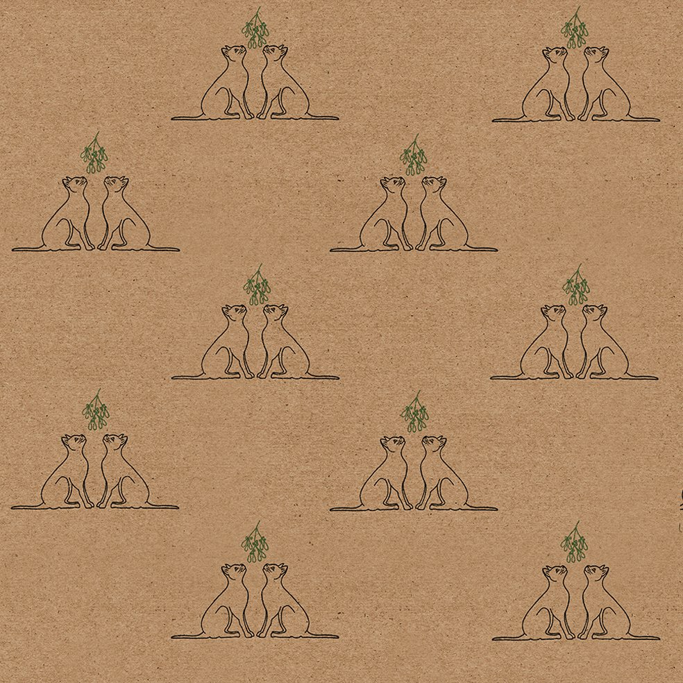recyclable wrapping paper - kraft paper with Christmas cat design - a pair of black cats