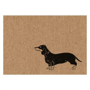 sausage dog notecard. A7 kraft card with black dachshund