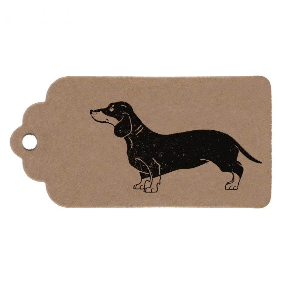 Dachshund gift tag. Brown kraft parcel tag with sausage dog print.