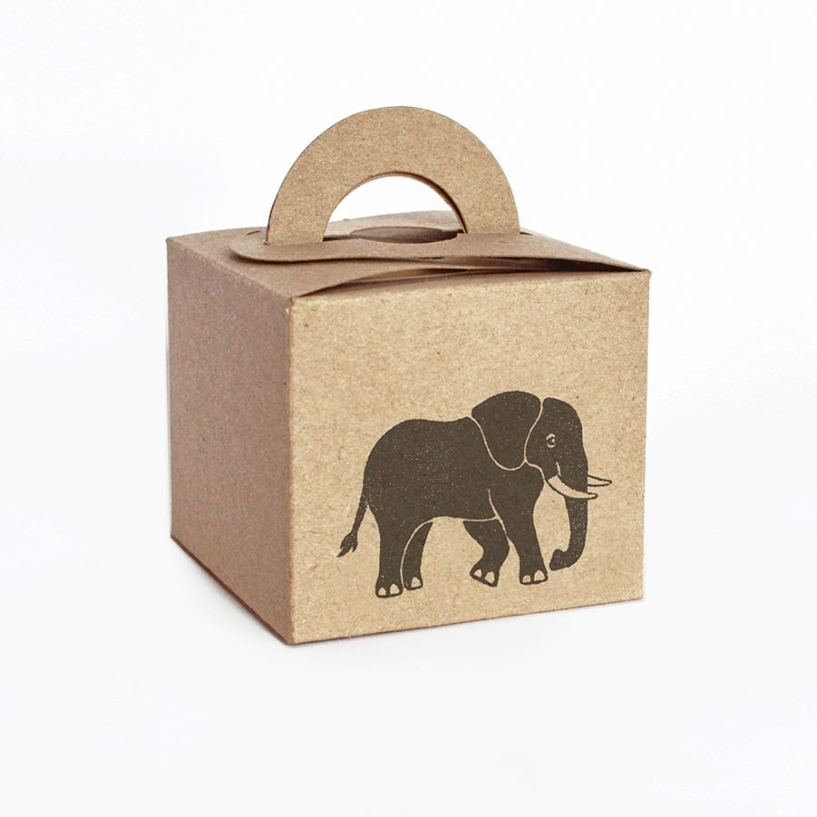 Elephant gift box. Square brown kraft gift box, with handles.