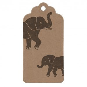Elephant gift tag. Brown kraft gift tag with elephant print.
