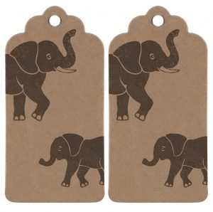 set of two matching elephant gift tags