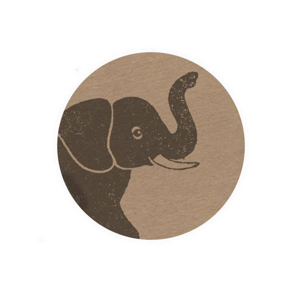 Round, brown kraft sticker, with elephant print