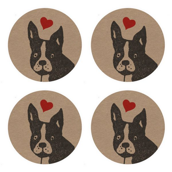 4 matching kraft stickers, featuring a french bulldog's face with a love heart floating above.