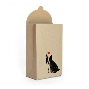 love-themed frenchie gift wrap set, brown kraft box with french bulldog and love heart