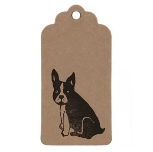 Frenchie gift tag. Brown kraft paercel tag with black frenchie