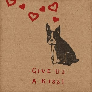 Cheeky French Bulldog Card, with Frenchie, love hearts, and 'Give Us A Kiss' message.