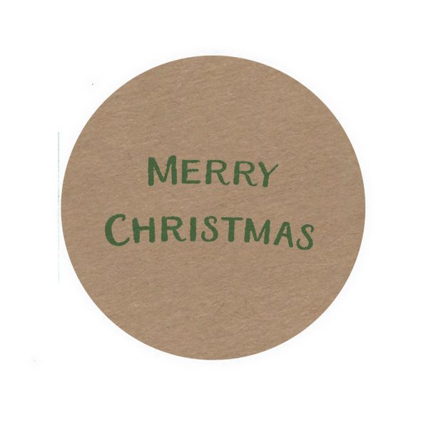 brown kraft sticker with @merry Christmas' in green