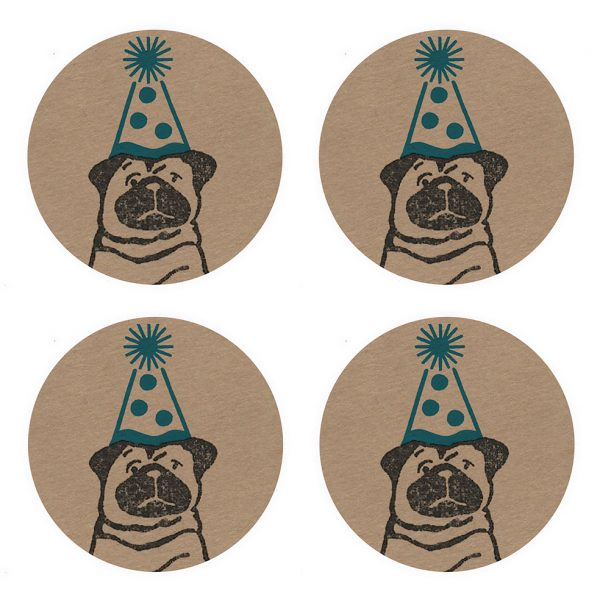 4 kraft stickers. each featuring a black pug wearing a blue party hat