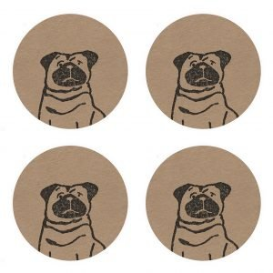4 kraft stickers with the image of a black pug
