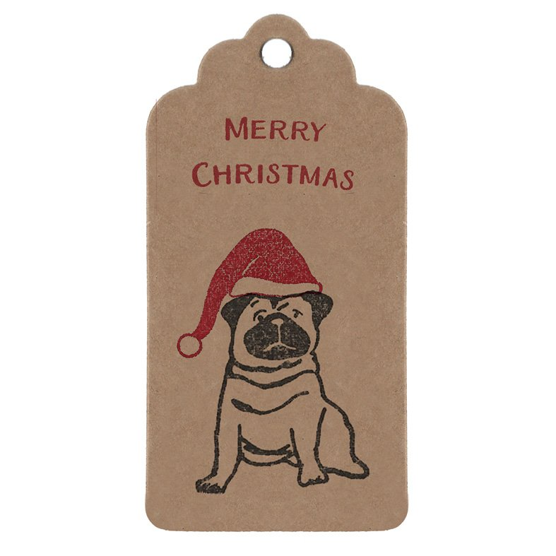 Pug Christmas Gift Tag, Kraft parcel tag with cute pug, wearing a santa hat, with Merry Christmas message in red.