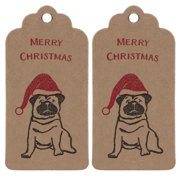 two kraft gift tags, with pugs wearing santa hats, and 'Merry Christmas' message in red.