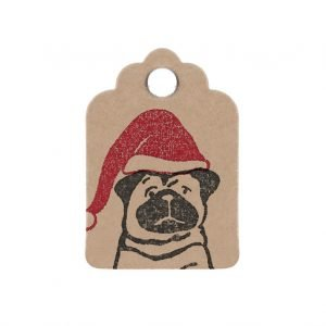 Mini Christmas gift tag, Santa Pug design on kraft tag