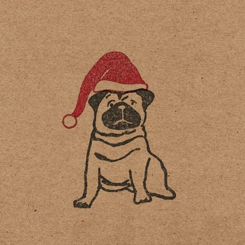 close up of my Christmas pug design, showing a pug wearing a red santa hat, printed on kraft paper.