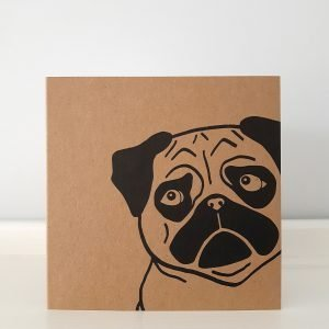 brown kraft card with close up of pug's face in black