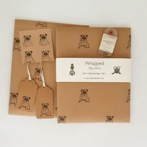 pug gift wrap set. 2 sheets of brown kraft wrapping paper, gift tags, stickers and twine, from Wrapped By Alice