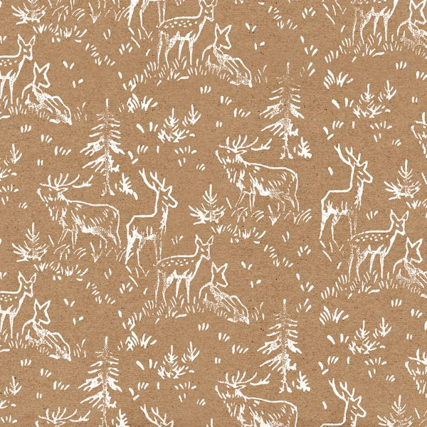 recycled christmas wrapping paper - deer print kraft wrapping paper sheet