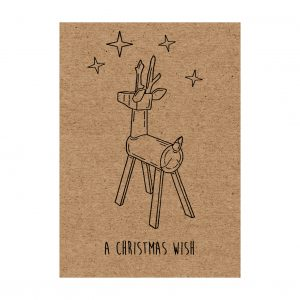 reindeer Christmas card. Brown kraft card, with wooden reindeer and stars, and message 'A Christmas Wish' underneath.