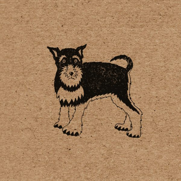close up of schnauzer design, showing one black schnauzer on brown kraft background