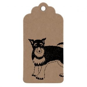 brown kraft gift tag with drawing of a schnauzer