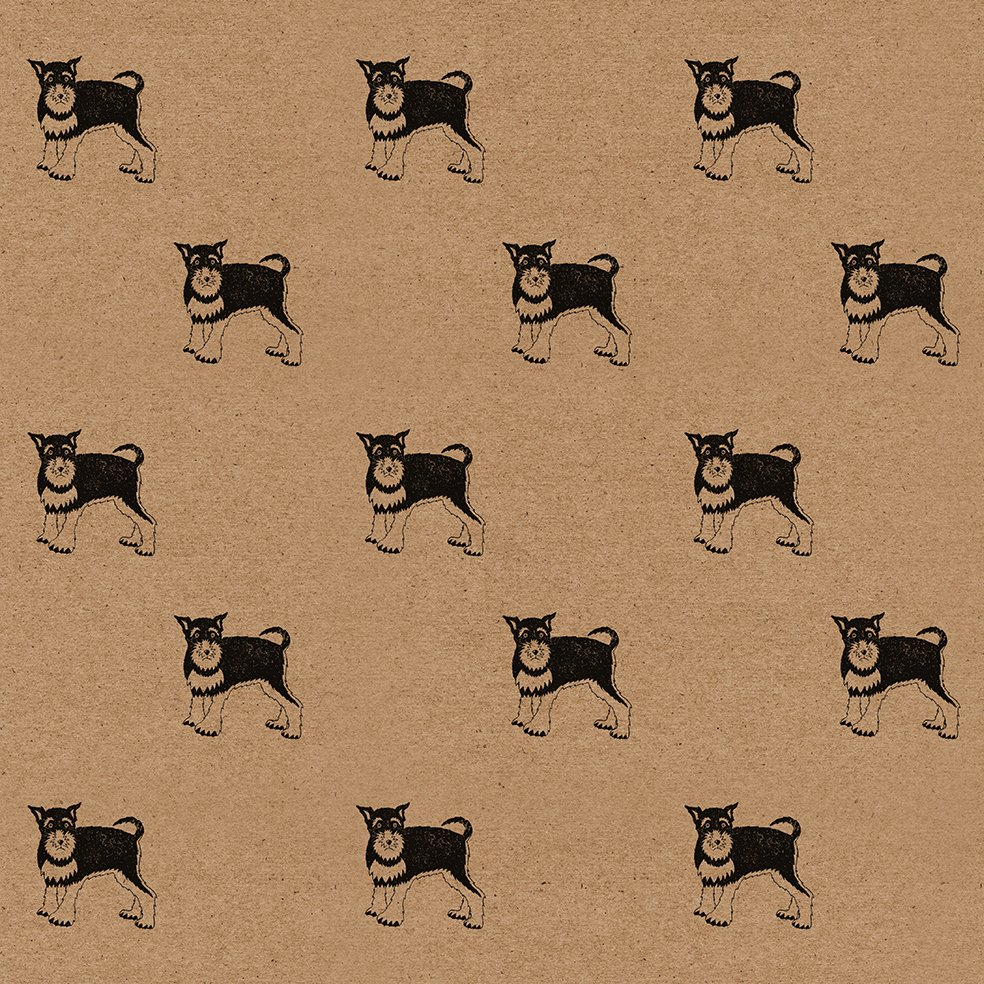 schnauzer wrapping paper sheet - brown kraft sheet, with repeating pattern of schnauzers.