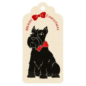 Cream gift tag, featuring my Christmas Scottie Dog design
