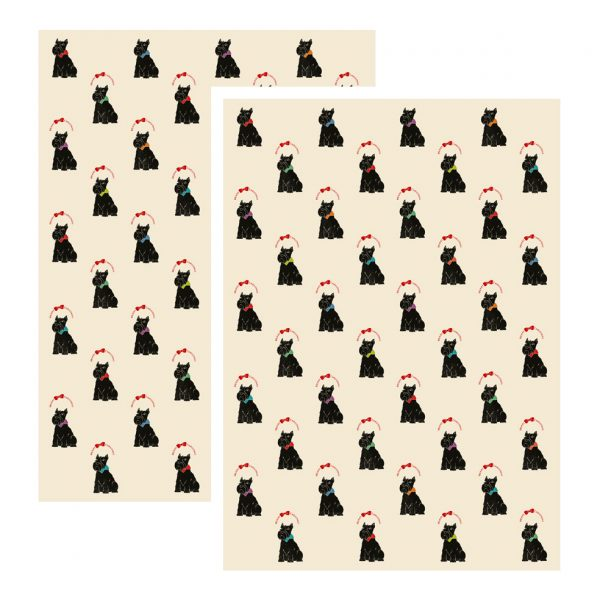 scottie dog Christmas wrapping paper sheets, two sheets