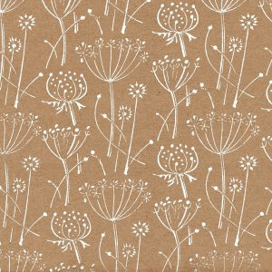 floral wrapping paper. Brown kraft paper with white seed head pattern