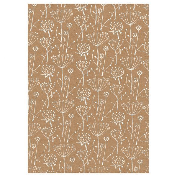 full sheet of floral wrapping paper. White seed heads on brown kraft