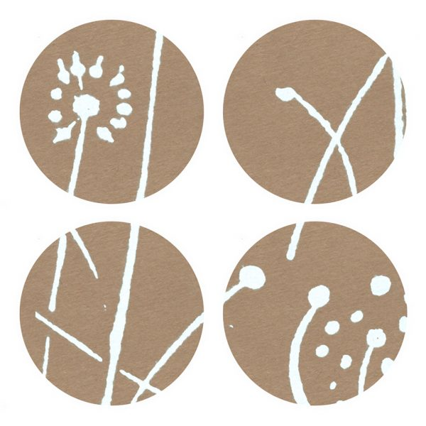 4 brown kraft stickers, with white seed head pattern