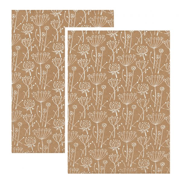2 sheets of floral gift wrap - white seed heads on 100% recycled brown kraft paper