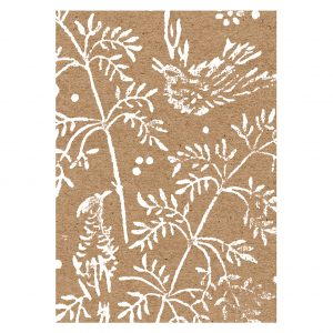 song bird greeting card. brown kraft A6 card with white songbirds