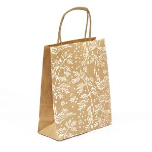 small song bird gift bag, brown kraft bag with white song bird pattern