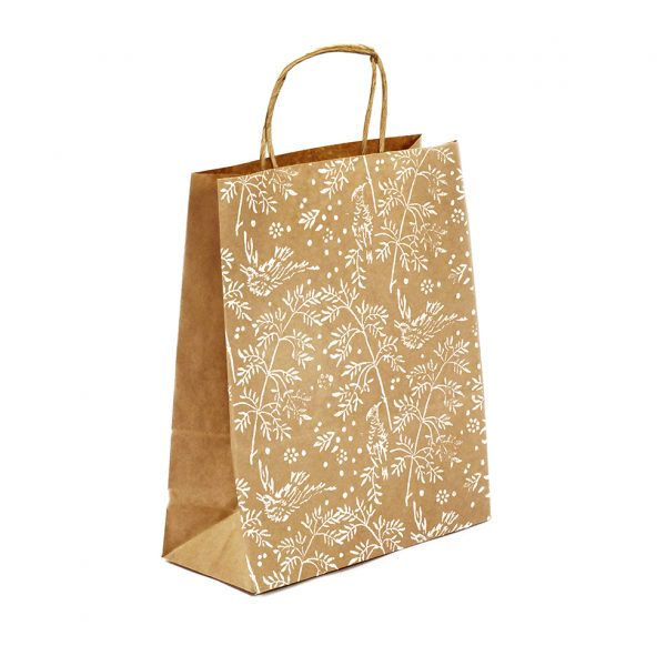medium gift bag, brown kraft with pattern of white song birds and leaves.