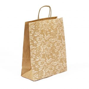 large kraft gift bag with white bird print