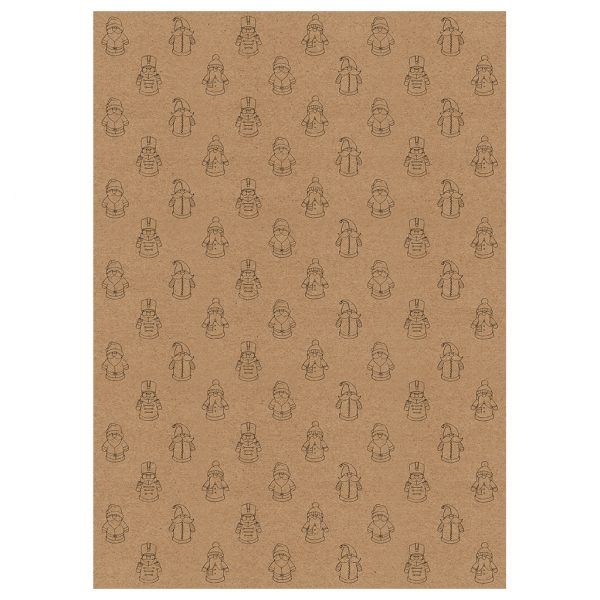 Full sheets of santa christmas wrapping paper - brown kraft paper with festive toy santa design