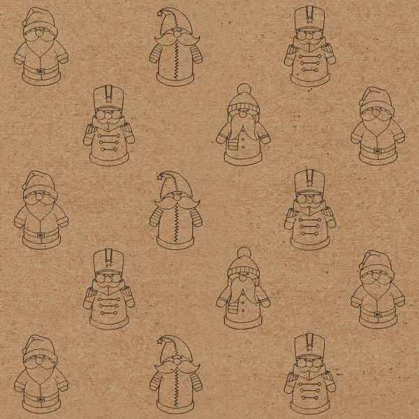santa christmas wrapping paper - brown kraft paper with festive toy santa design