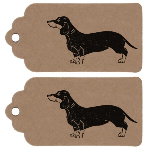 two sausage dog gift tags. Borwn kraft parcel tags, with scalloped edge detailing