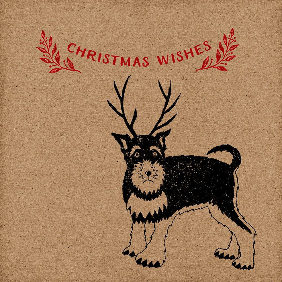 Handmade Christmas Card with Schnauzer Design - Wrapped By Alice
