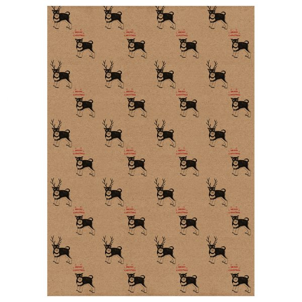 full sheet of reindeer dog wrapping paper - kraft gift wrap with Schnauzers wearing antlers and merry Christmas message
