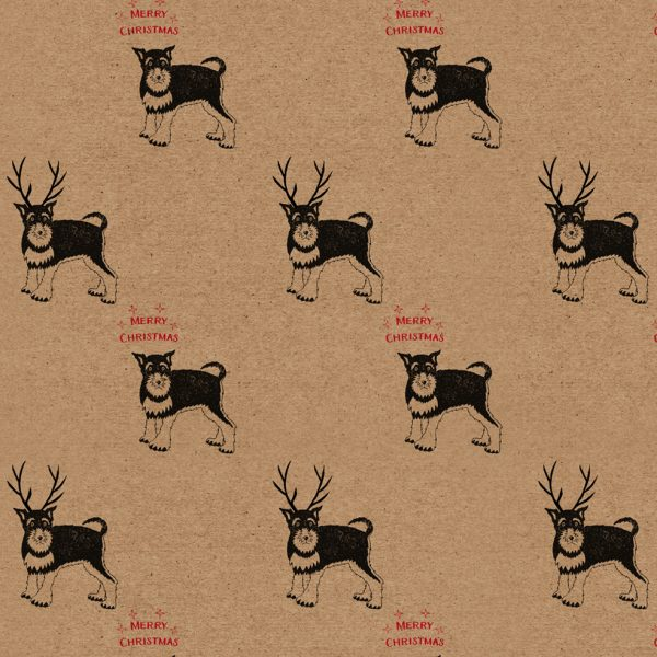 reindeer dog Christmas wrapping paper sheet - kraft paper with dogs wearing antlers